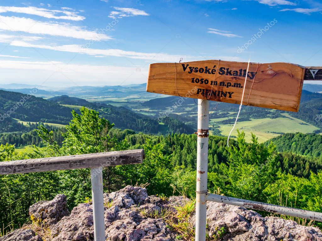 Viewpoint on mount Wysoka (Vysoke Skalky). Pieniny Mountains, Slobakia-Poland border.