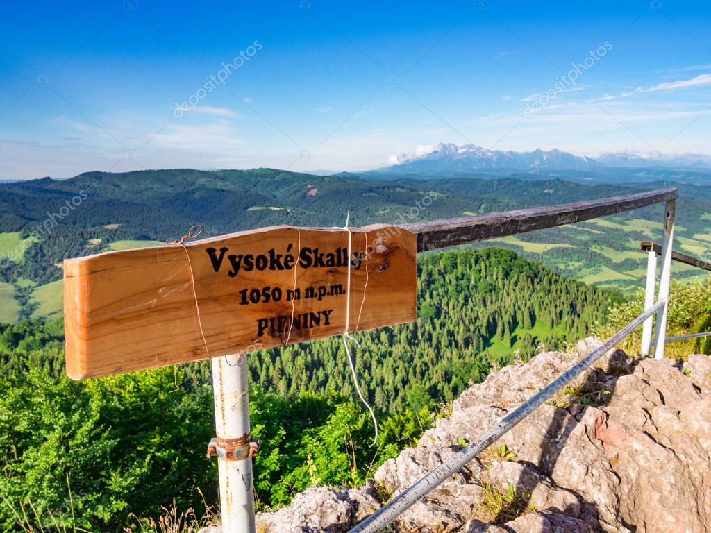 Viewpoint on mount Wysoka (Vysoke Skalky) and High Tatra in background. Pieniny Mountains, Slobakia-Poland border.