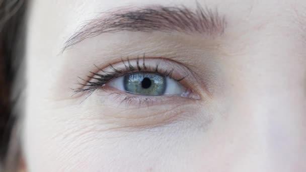 Blízká střela atraktivní krásné ženy modré oko s denním make-up a zaměřováním. Pohled na půltvář kamery