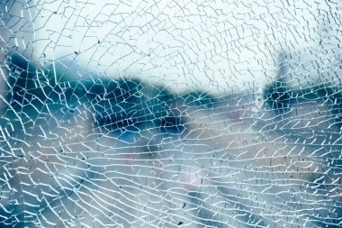 close up view of broken glass texture