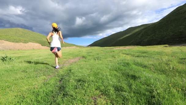 Mladí fitness žena stezka běžec běží na louky a pastviny