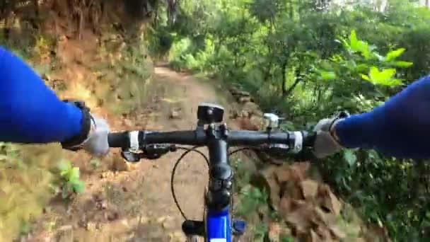 Cyklista pro cyklisty na horských kolech na tropickém deštním lese