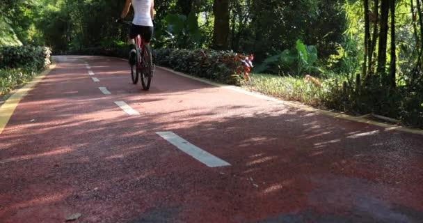 Žena jízda na kole v parku stezka za slunečného počasí