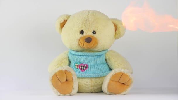 Plyšová medvídek Teddy na bílém pozadí s ohněm