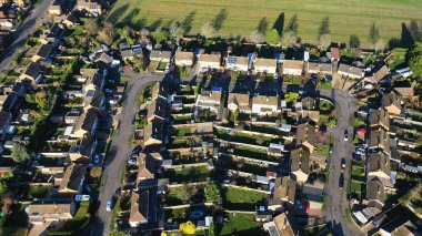 Aerial view of homes in a suburban setting in England
