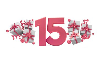 Number 15 pink birthday celebration number with gift boxes. 3D Rendering