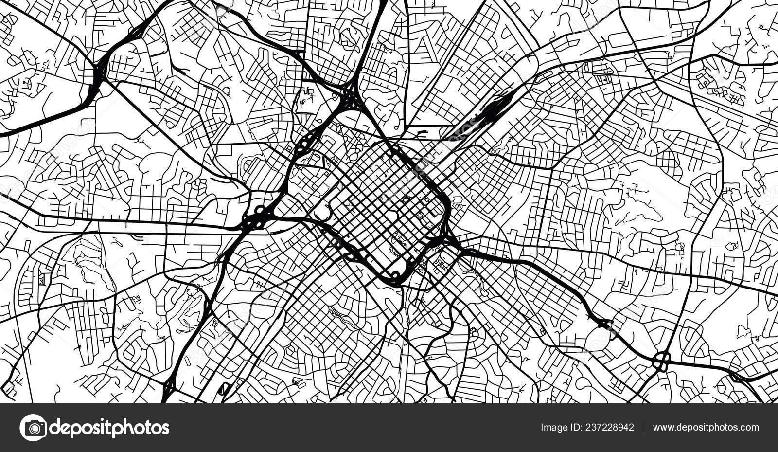 Urban Vector City Map Charlotte North Carolina United States America - Us-map-charlotte-nc