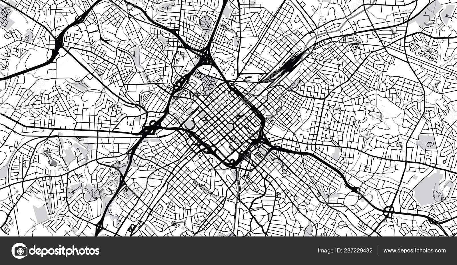 Urban Vector City Map Charlotte North Carolina United States America on
