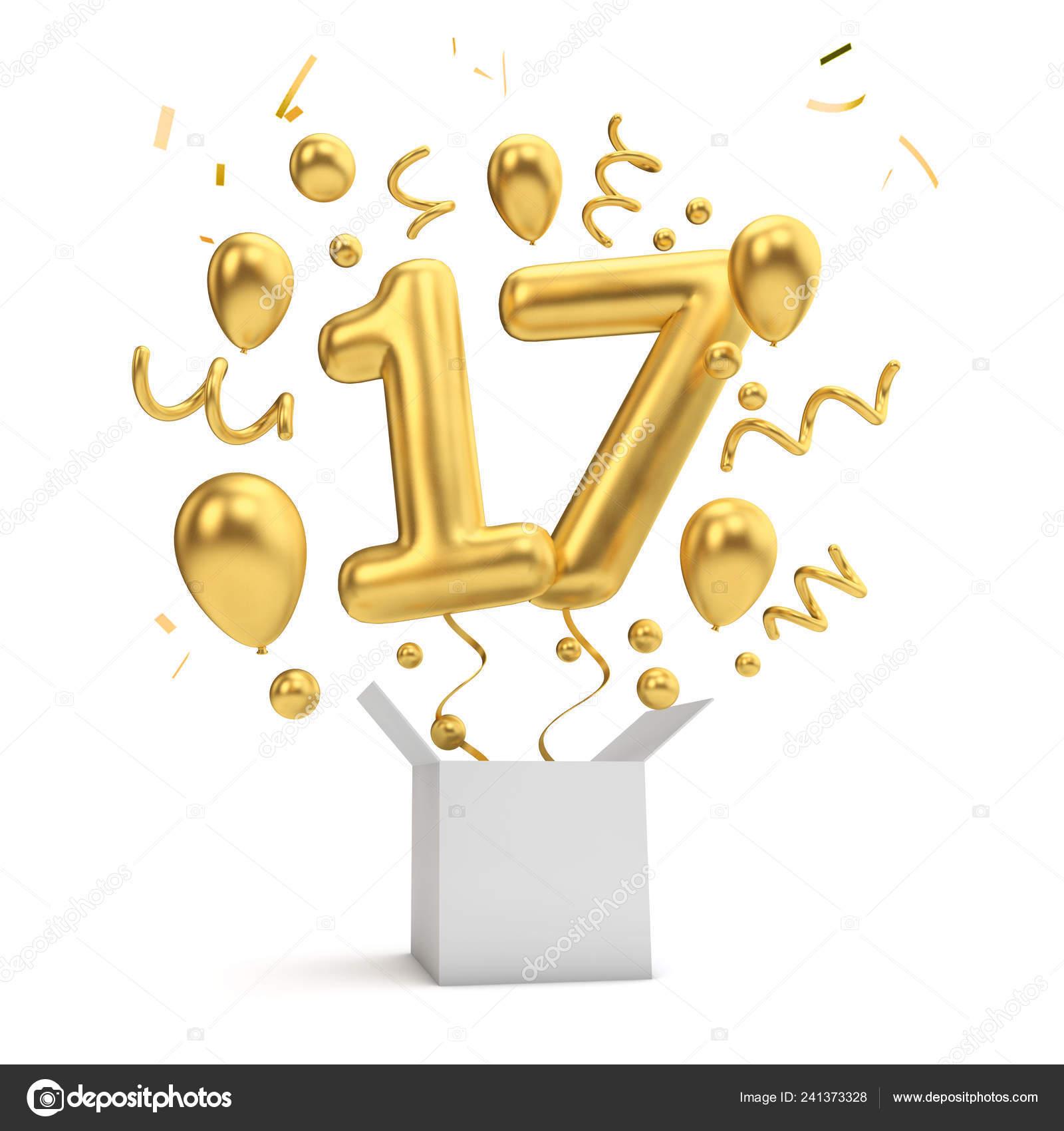 Happy 17th Birthday Gold Surprise Balloon Box Rendering Stock