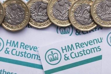 LONDON, UK - January 24th 2019: HMRC, Her Majesty's Revenue and Customs tax return paperwork.