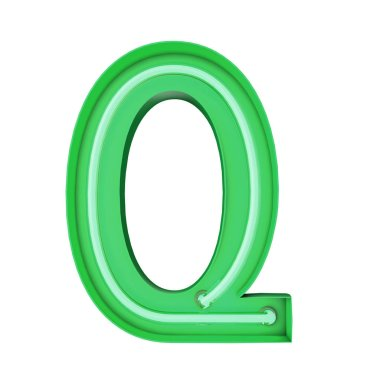 Neon style light letter Q. Glowing neon Capital letter. 3D rendering