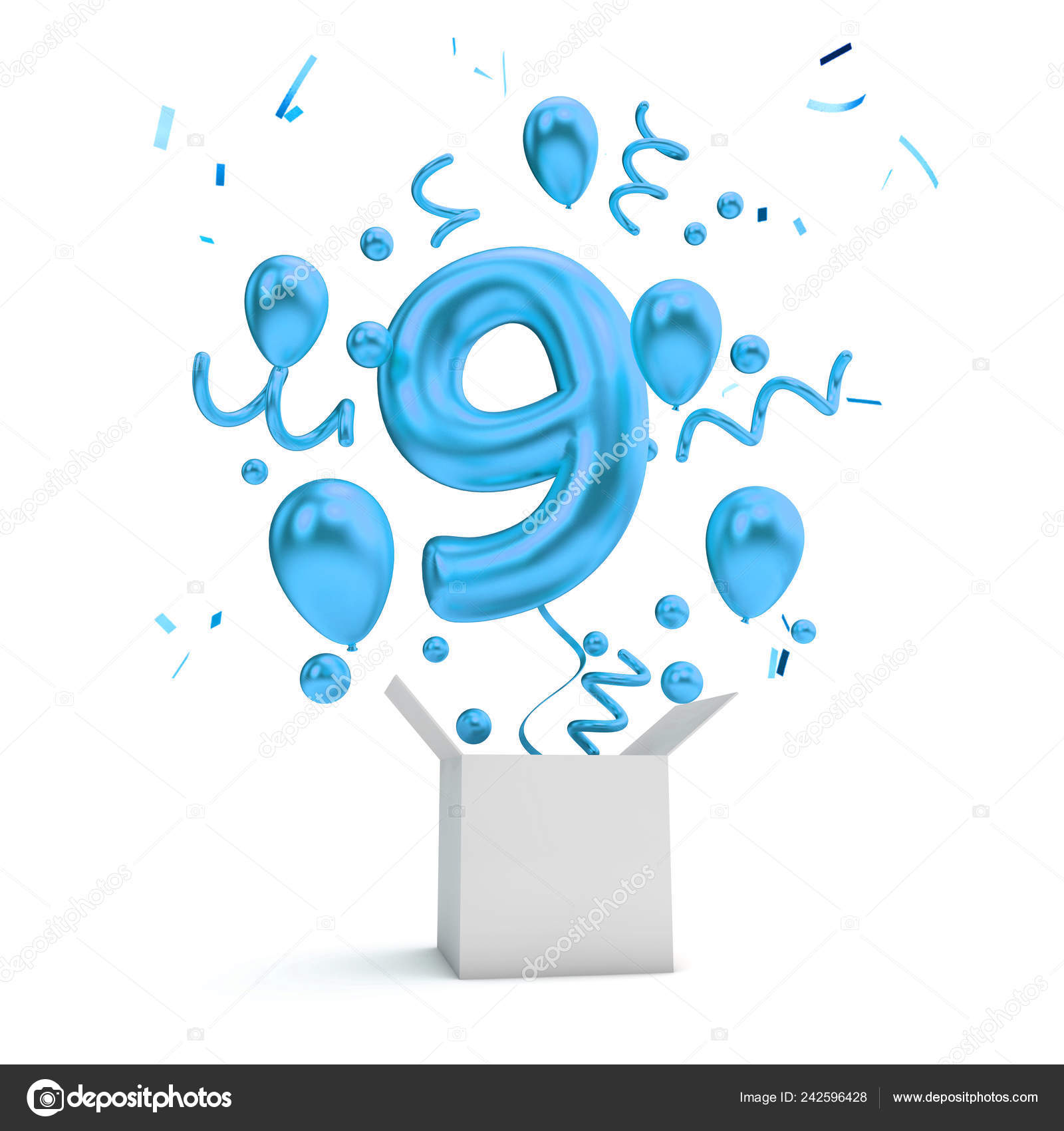 Happy 9Th Birthday Blue Surprise Balloon Box Rendering Stock Photo