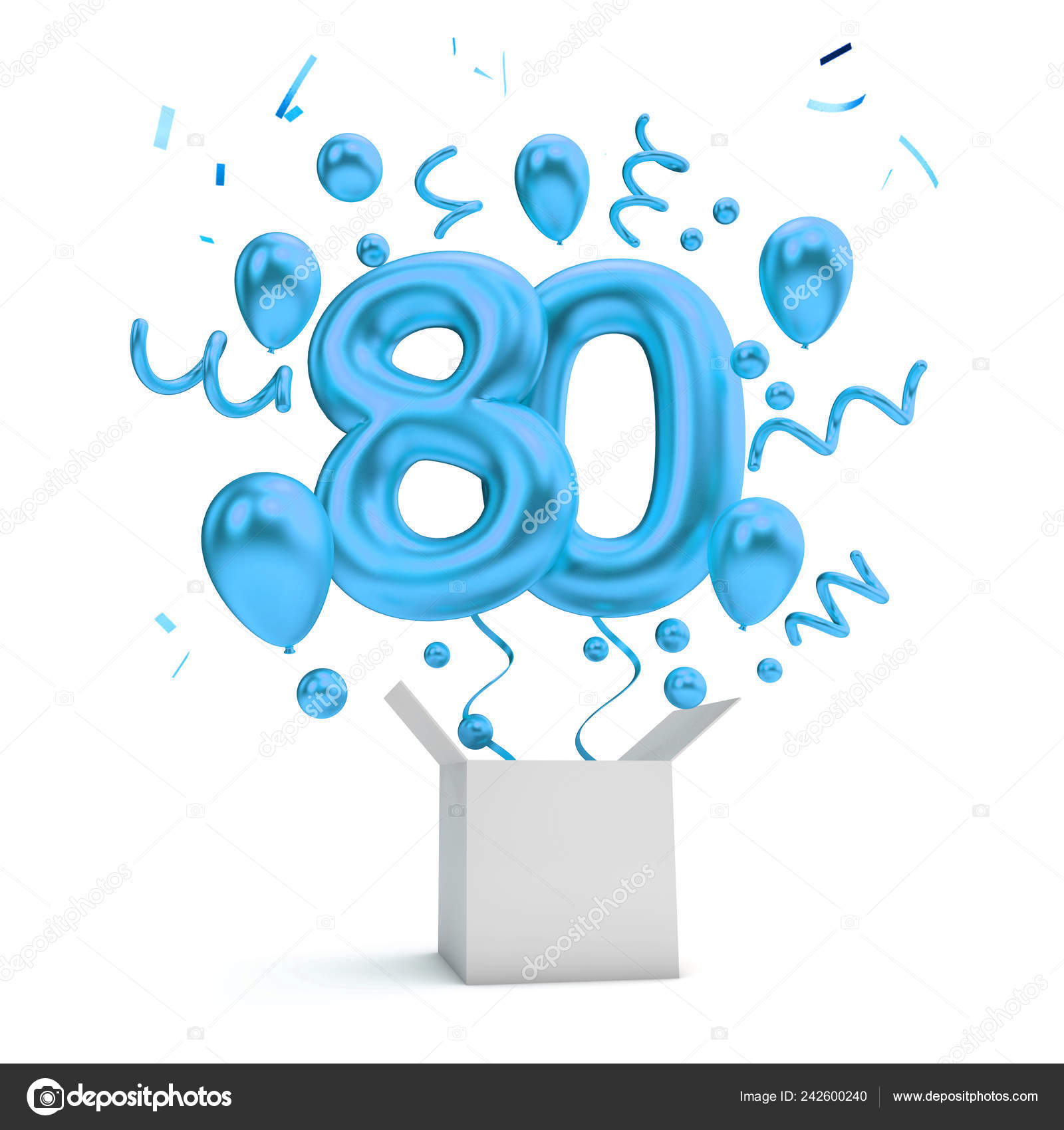 Happy 80Th Birthday Blue Surprise Balloon Box Rendering Stock Photo