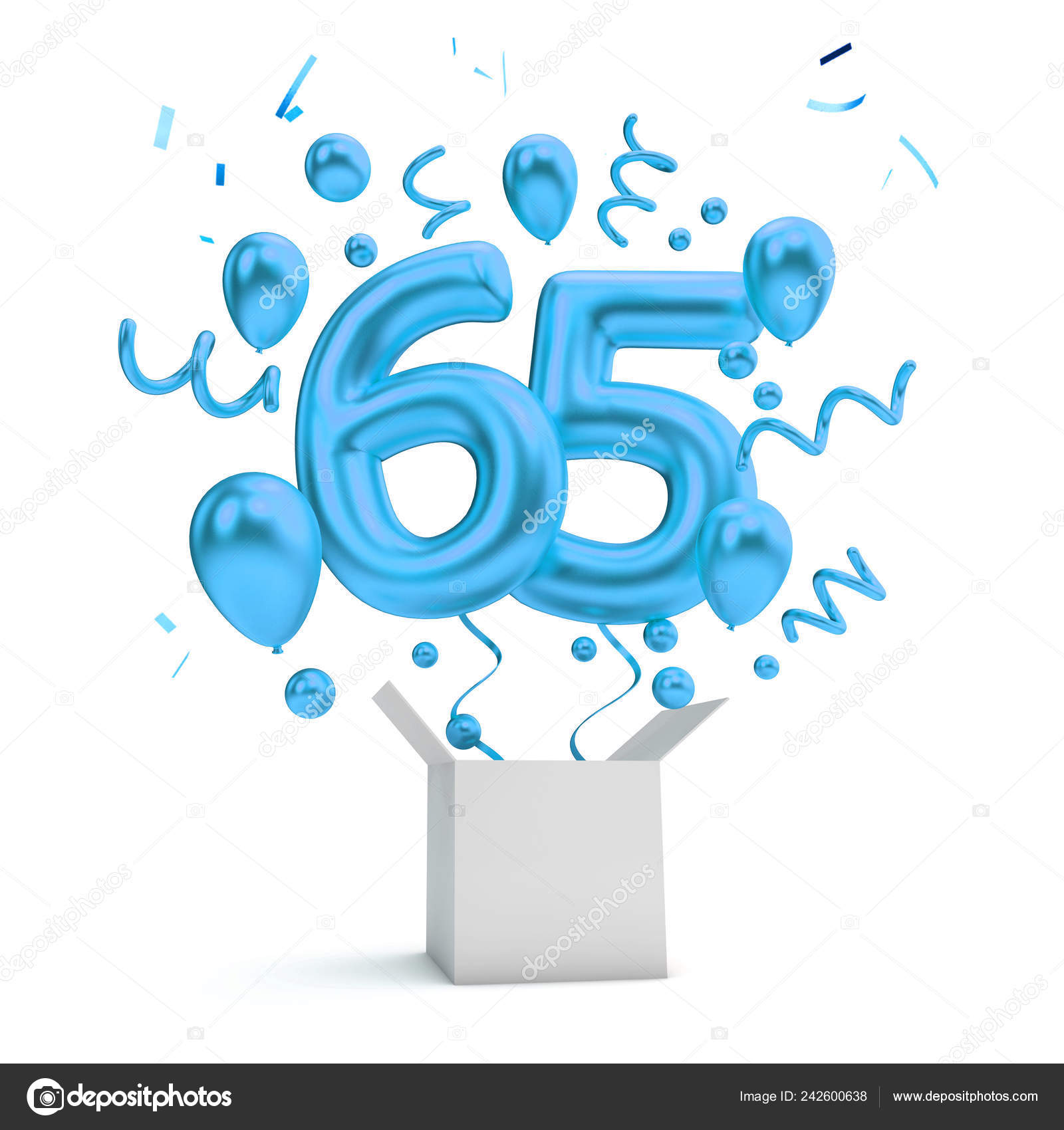 Happy 65Th Birthday Blue Surprise Balloon Box Rendering Stock Photo