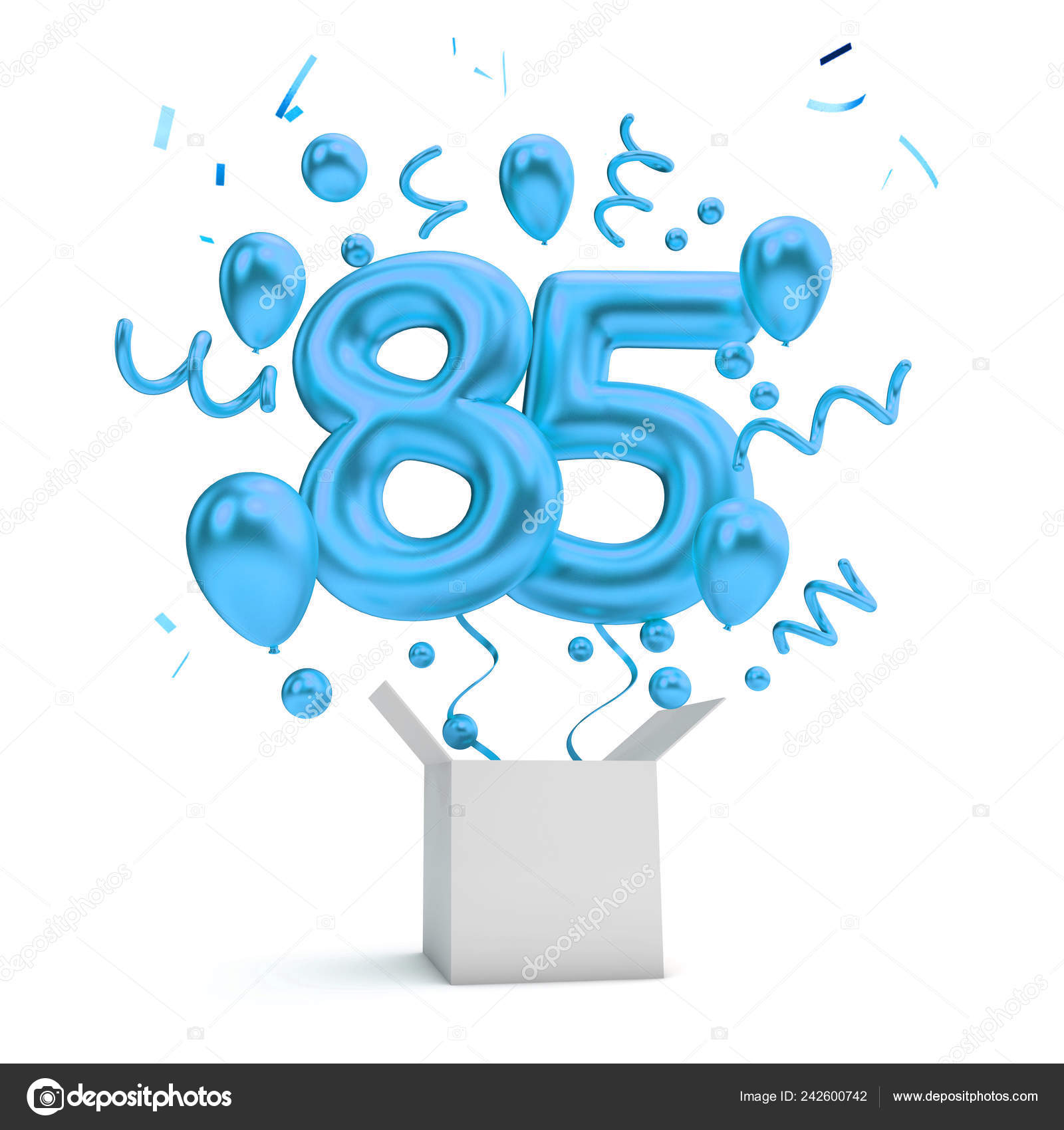 Happy 85Th Birthday Blue Surprise Balloon Box Rendering Stock Photo