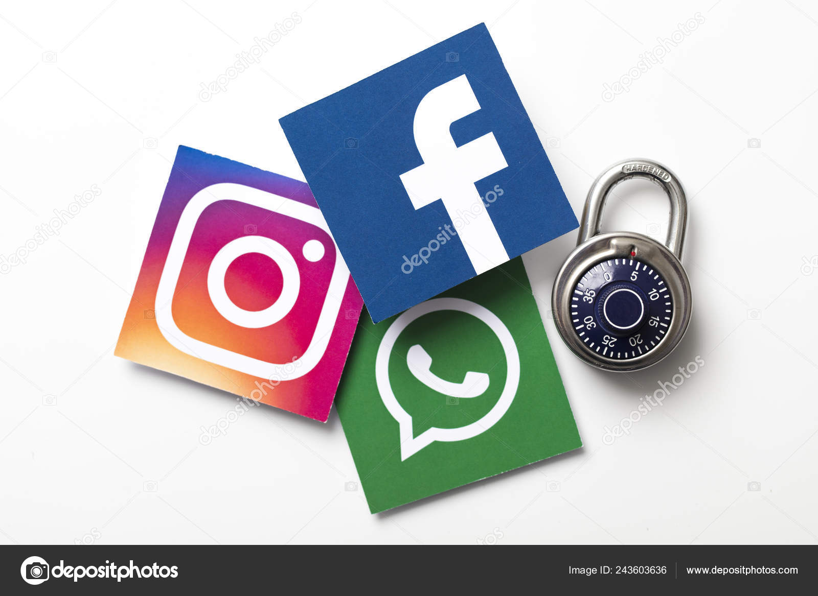 London February 8Th 2019 Facebook Instagram Whatsapp Logos Printed