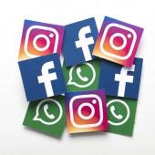 London, Egyesült Királyság - február 8-án 2019: Facebook, Instagram és Whatsapp logók nyomtatott-ra papír.