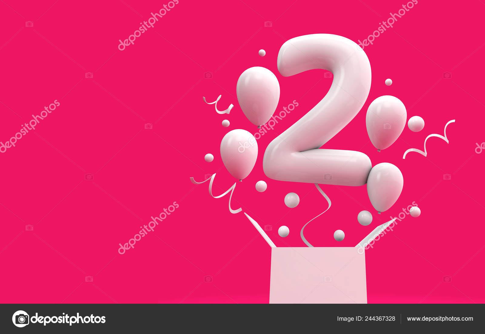 Happy 2Nd Birthday Surprise Balloon Box Rendering Stock Photo