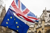European Union and British Union Jack flag flying together.