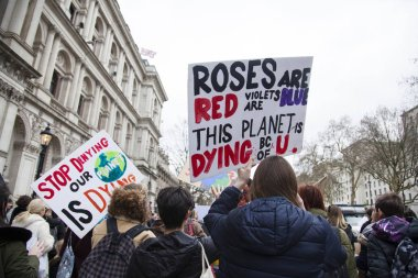 LONDON, UK - March 15, 2019:Thousands of students and young people protest in London as part of the youth strike for climate march