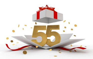 Happy 55th birthday gold surprise boxwith red ribbon. 3D Rendering
