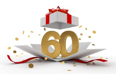 Happy 60th birthday gold surprise boxwith red ribbon. 3D Rendering