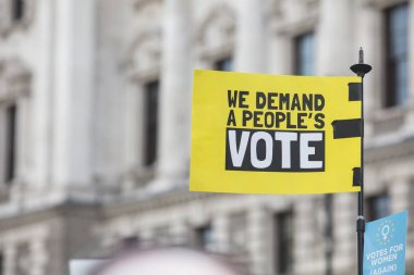 Peoples Vote banner at a political protest in London