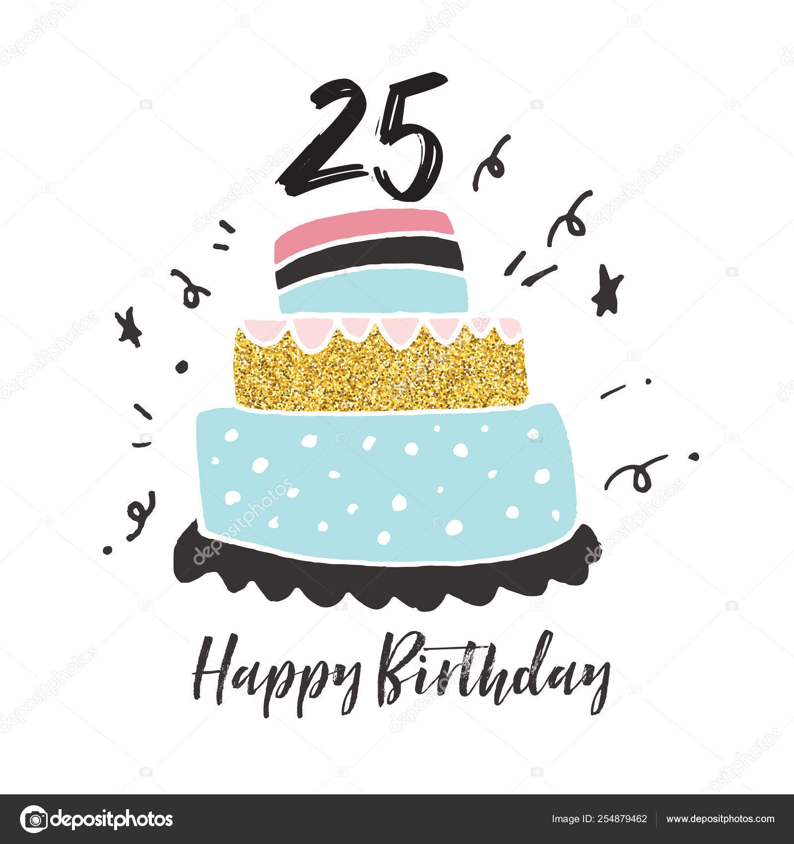 Stupendous 25Th Birthday Hand Drawn Cake Birthday Card Stock Vector Funny Birthday Cards Online Alyptdamsfinfo