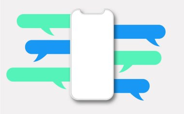Modern smartphone design with chat speech bubble. 3D Rendering