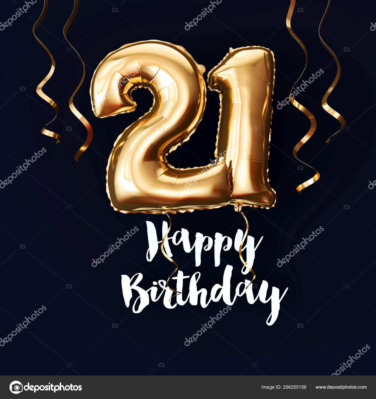 Happy 21st Birthday gold foil balloon background with ribbons  3D