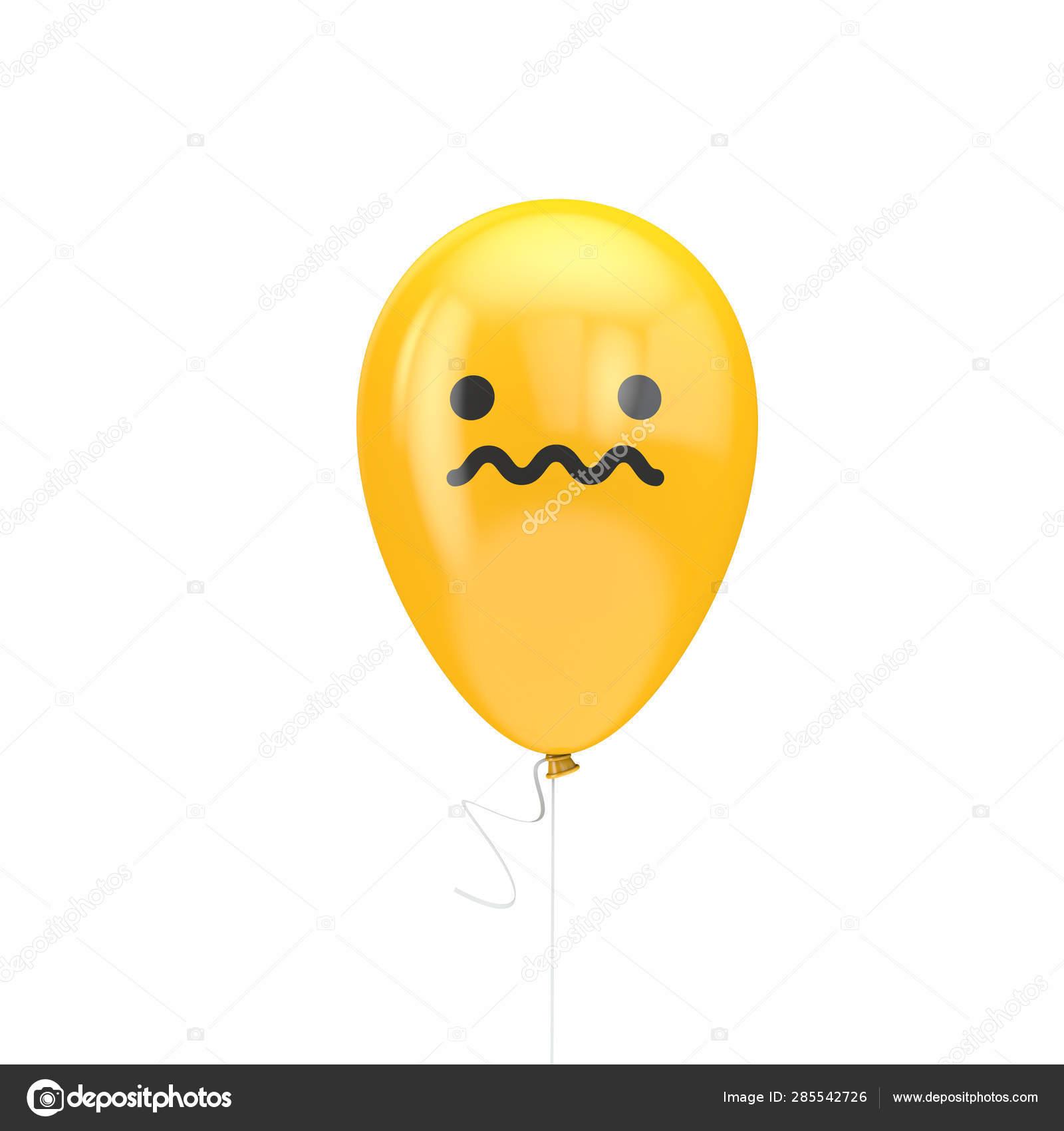 Unsure nervous emoji floating balloon — Stock Photo