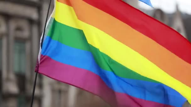LGBT, duhový praporek, který mával na oslavu oslavy v březnu