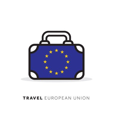 European Union travel concept. Suitcase vector icon with national country flag icon