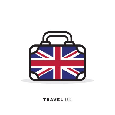 United Kingdom travel concept. Suitcase vector icon with national country flag icon
