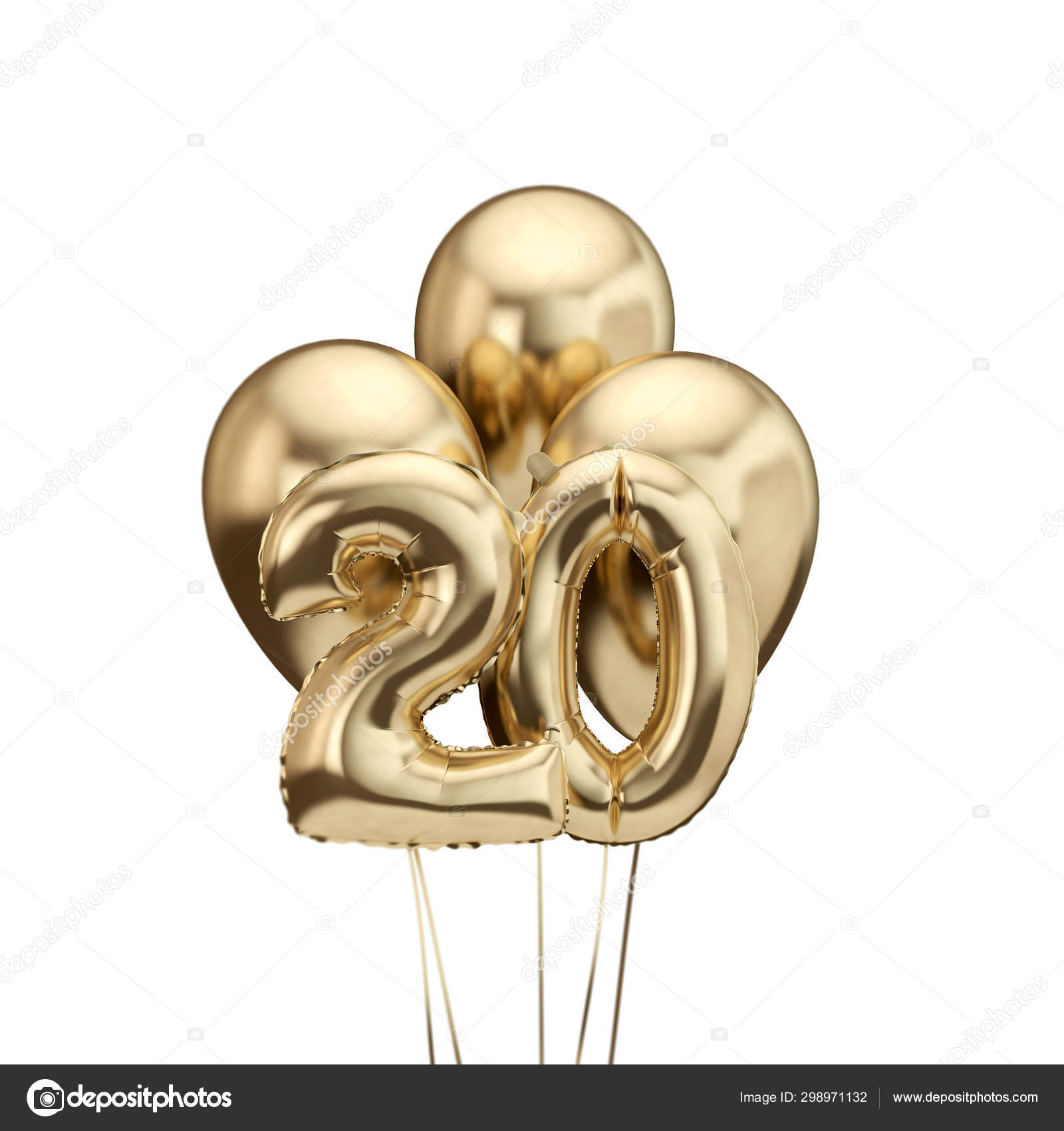 20th Birthday Gold Foil Bunch Of Balloons Happy Birthday 3d Rendering Stock Photo Image By C Inkdropcreative 298971132