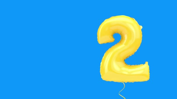 Number two helium birthday party celebration balloon background. 3D Rendering