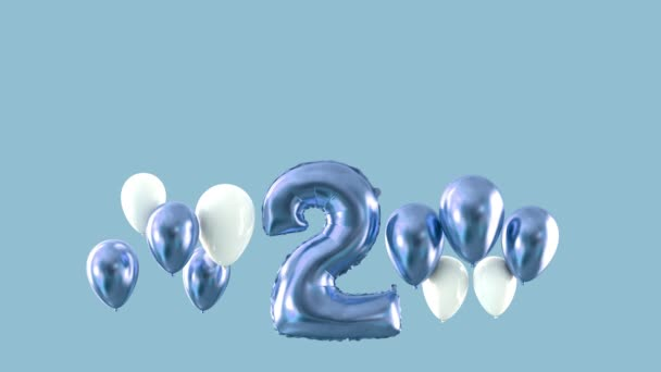 Number 2 birthday celebration blue floating balloons. 3D Render