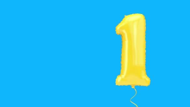Nummer eins Helium Geburtstagsparty Ballon Hintergrund. 3D-Darstellung