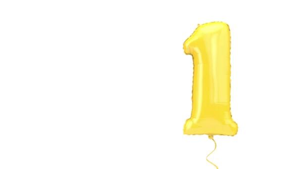 Číslo jedna helium narozeninová oslava balón pozadí. 3D vykreslování