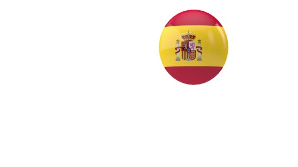 Spain flag bouncing ball on a white background. 3D Render