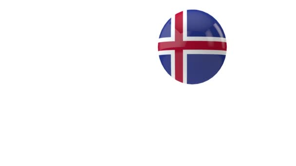Iceland flag bouncing ball on a white background. 3D Render
