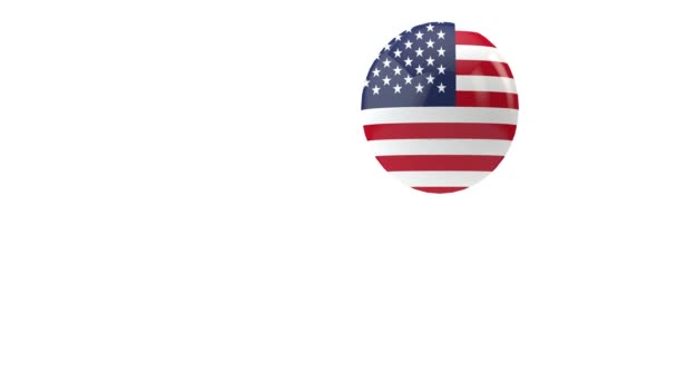 USA flag bouncing ball on a white background. 3D Render