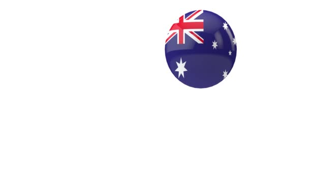 Australia flag bouncing ball on a white background. 3D Render