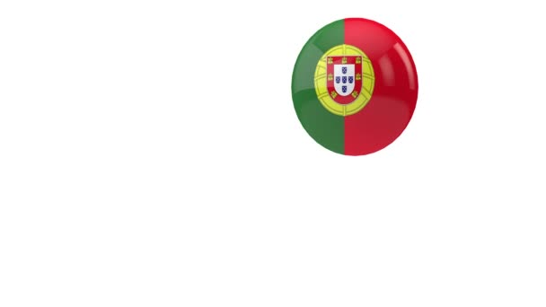 Portugal flag bouncing ball on a white background. 3D Render