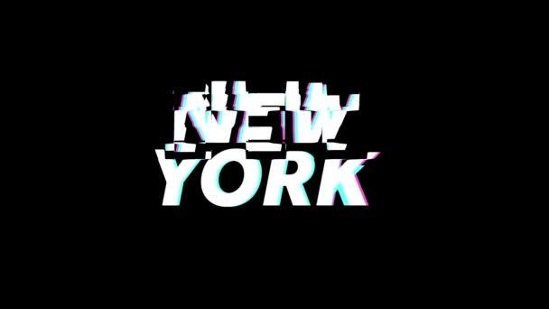 New York city label glitch animation on a plain black background
