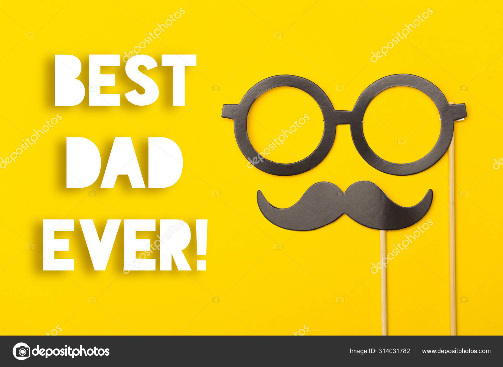 Father S Day Greeting Card Message With Mustache On A Yellow Bac Stock Photo C Inkdropcreative 314031782