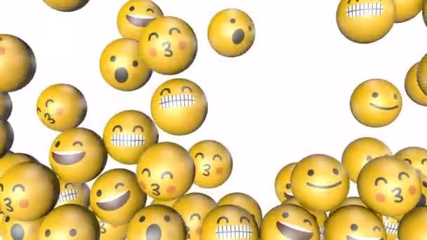 Emoji-Emoticon-Zeichen füllen den Bildschirm. 3D-Darstellung