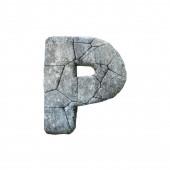 Levél P repedt grunge kő betűtípus 3D Rendering