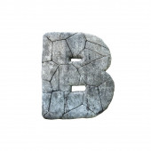 Fotografie Letter B cracked grunge stone rock font 3D Rendering