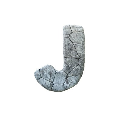 Letter J cracked grunge stone rock font 3D Rendering